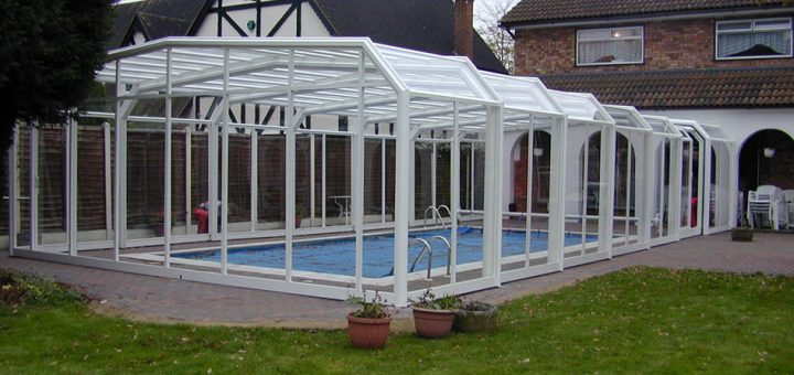 Telescopic Sliding Retractable Swimming Pool Enclosures Swimex Over 1000 Uk Pool Swimming Pool Enclosures Installed