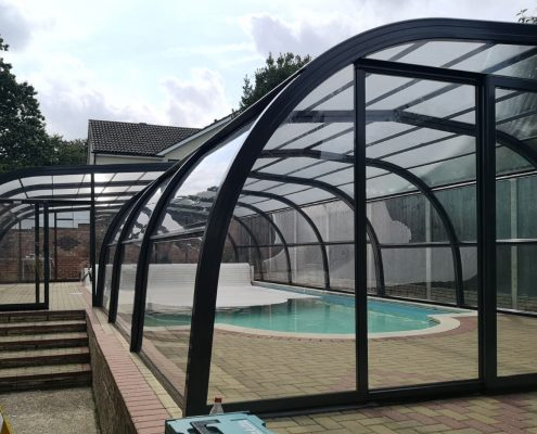 Galaxy Fixed Arched Pool Enclosure Exterior Grey 01