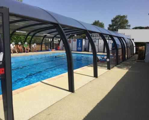 Galaxy Pool Enclosure For Thorpe House School In Use With Sides Raised For Ventilation