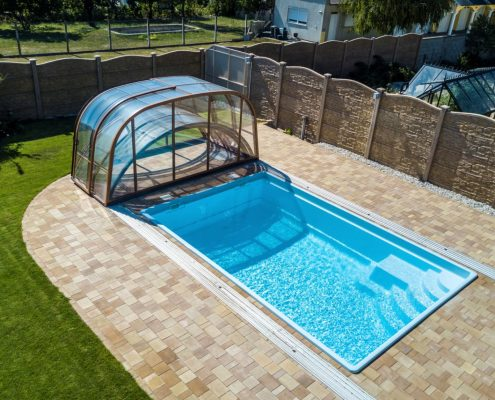 Galaxy Telescopic Mixed Height Pool Enclosure Fully Open