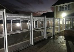 Newly Installed EasyGlide White Telescopic Pool Enclosure At Night 01