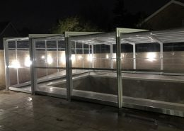Newly Installed EasyGlide White Telescopic Pool Enclosure At Night 02