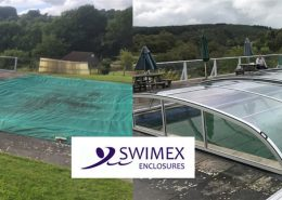 Swimex Low Arched Telescopic Pool Enclosure Installation Before and After Picture 01